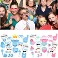 2017  It's A Boy Girl Photo Booth Props Baby Shower Kids Photography Party Decor 25pcs/SET  FEB23_30