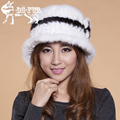 Hot Sale 2016 New Nature Real Mink Fur Hat For Women Winter Knitted Mink Fur Beanies Cap Thick Female Cap Russian Woman Warm Hat