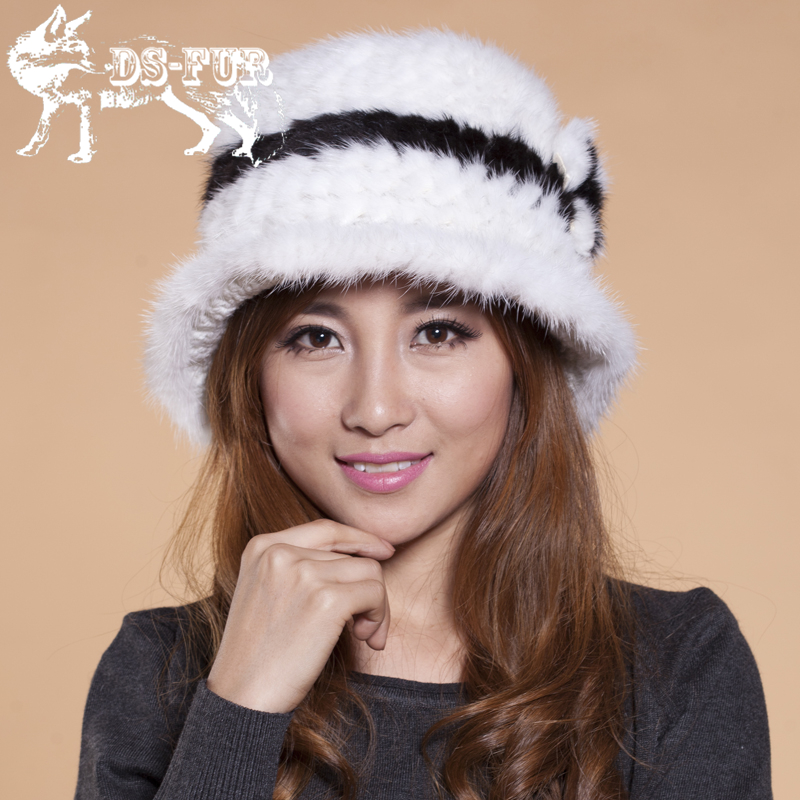 Hot Sale 2017 New Nature Real Mink Fur Hat For Women Winter Knitted Mink Fur Beanies Cap Thick Female Cap Russian Woman Warm Hat  цена и фото