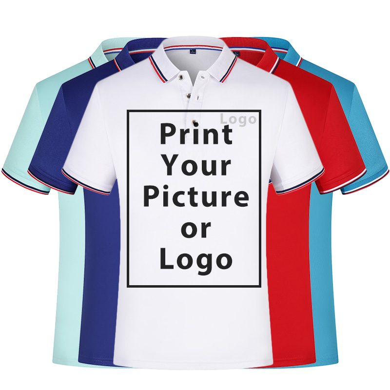 Custom Uniform Company Group Team Shirt Print Photo/Logo Unisex Solid Color Short Sleeve O Neck  Shirts For Women And Men