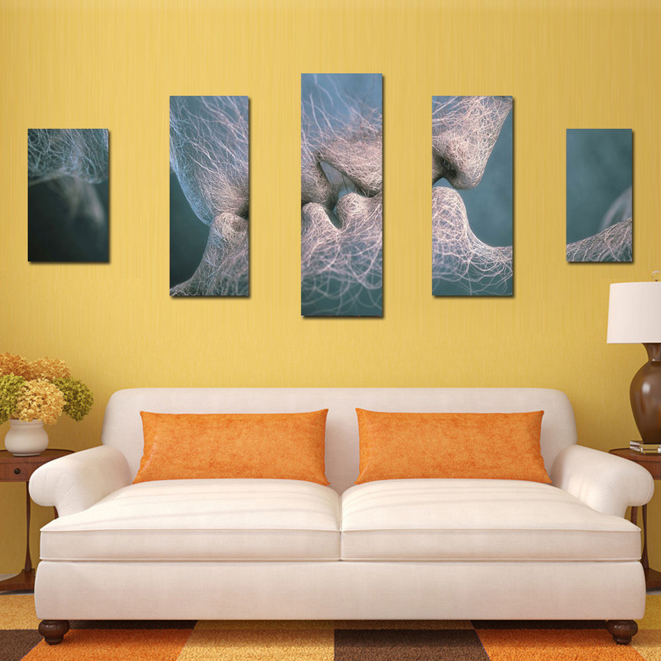 ▽New Fashion Style 5 Panel Modern Art Oil Painting Lovers Style ...