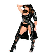 HighQuality Sex Hot Sexy Imitation Leather Strap Erotic Women Black Patent Leather Erotic Lingerie Ultimate Temptation Sleepwear