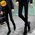 Moda 2016 Primavera Outono Homens Estudantes Adolescentes Casual Preto Skinny Jeans Stretch Fino Bottoms Calças Lápis 28-34 Barato