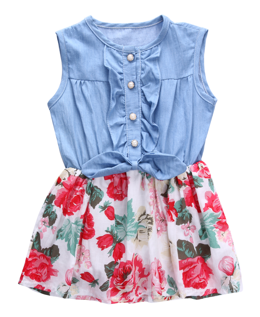купить Baby Girls Dress 2017 Hot Sales Sweet Girl Flower Print Denim Ruffle Girls Summer Dress Sleeveless недорого