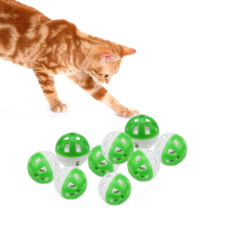 20pcs Plastic Lightweight Cat Pounce Chase Rattle Ball Toy