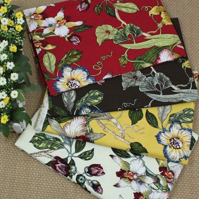 Linen Cotton Print Bird And Flower Sofa Cover Curtain Diy Printing
