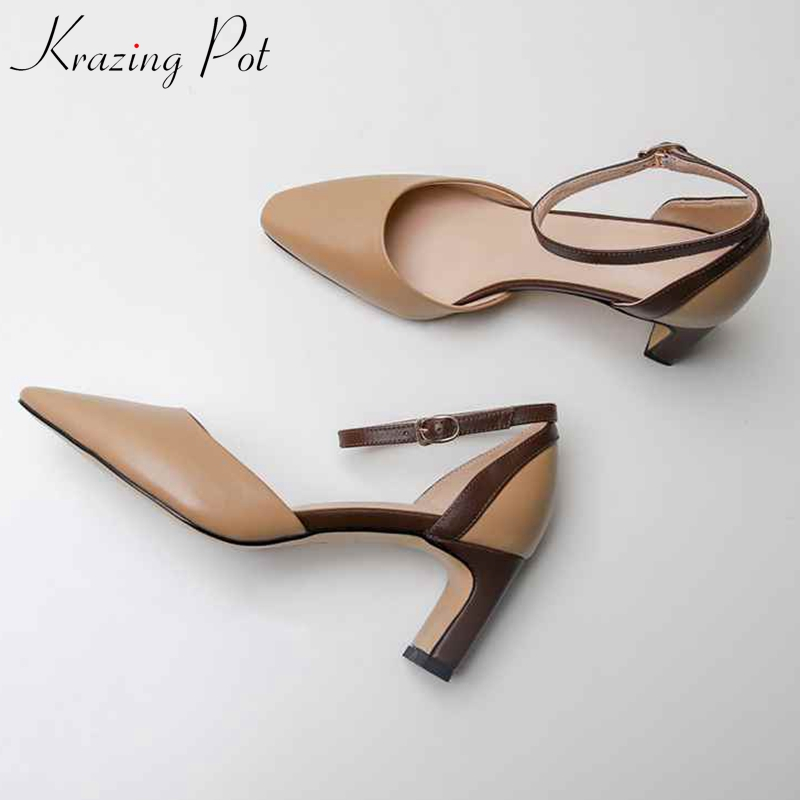 Krazing Pot 2019 cow leather square high heels women buckle straps brand leisure wedding party online