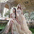 Glamorous Champagne Tulle Bridesmaid Dress Strapless Beaded Lace Bridesmaid Dresses Girls Bridesmaid Gowns For Wedding B100