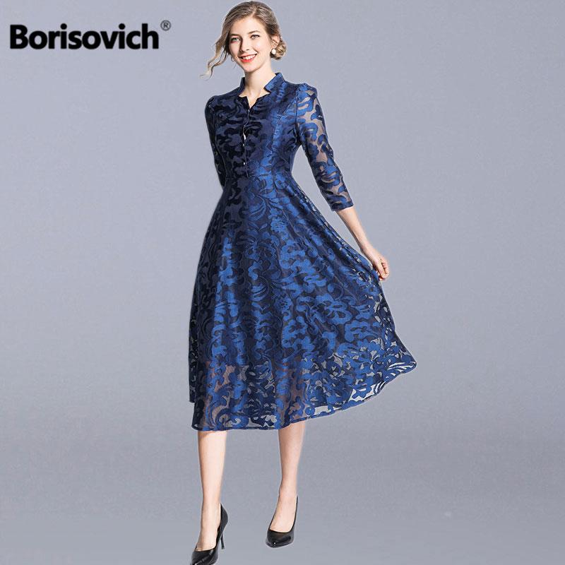 Borisovich Women Casual Lace Long Dress New Brand 2019 Spring Fashion Vintage V neck Elegant A