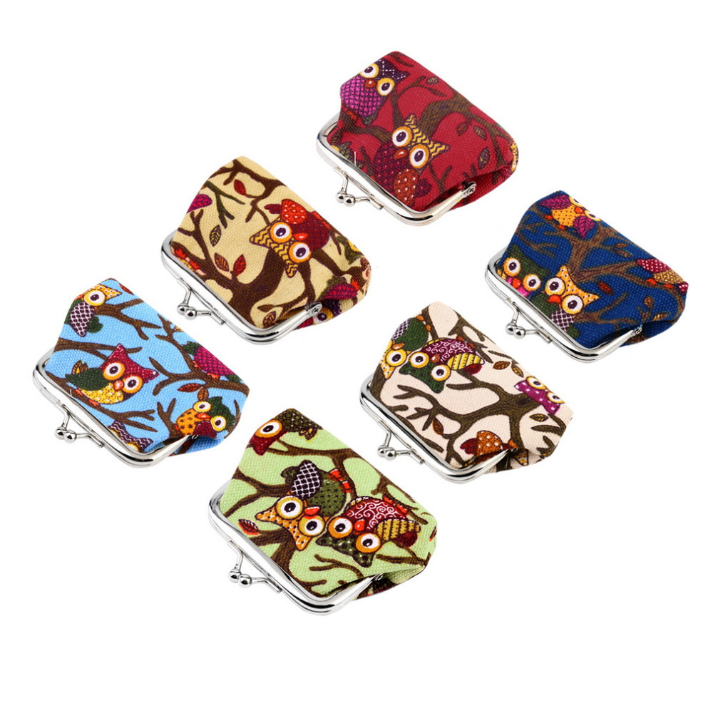 Multi-color Owl Design Coin Money Bag Purse Wallet Canvas For Women Girl Lady 2016 popular Worldwide sale