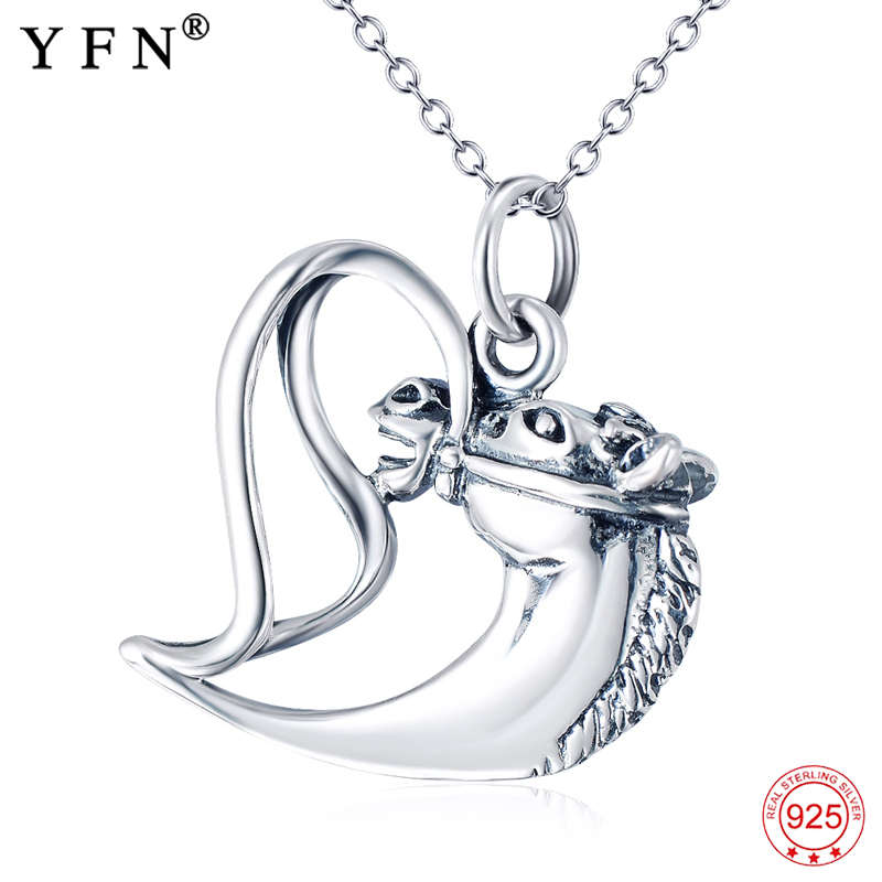 c2afe7f4e Genuine 925 Sterling Silver Necklace Women Top Quality Antique Silver Horse Pendants  Necklaces Fashion Jewelry Gifts GNX11429-in Pendant Necklaces from ...