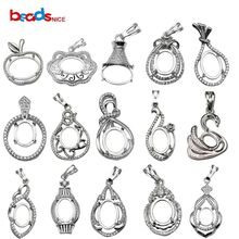 Beadsnice Овальный кулон лоток 925 пробы серебряный пустой кулон кабошон установка ручной работы ожерелье подвески для женщин ID34064