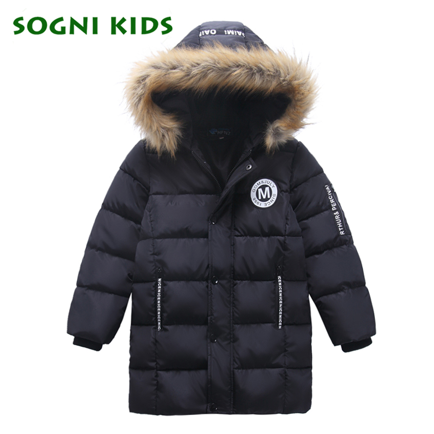 2017 Children Girl Boys Clothes Jacket Duck Down Parkas Kids Fur Hooded Outerwear Thicken Warm Long Style Winter Coats For 5-12Y