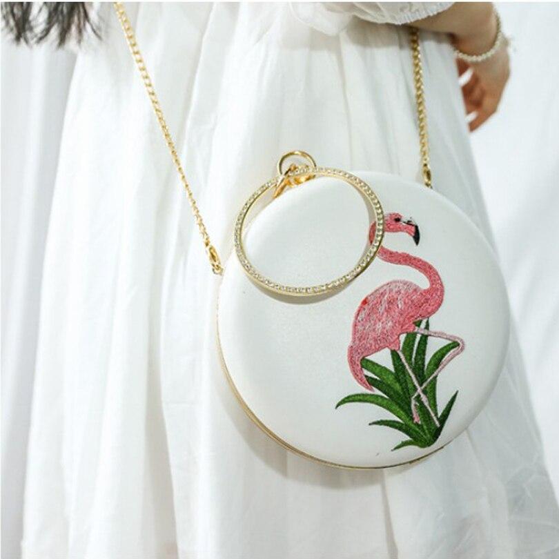 Flamingo dames sacs à main blanc sac rond femmes 2019 pochette chaîne sac diamant poignée cercle petits mini sacs à main sacs de soirée - 6