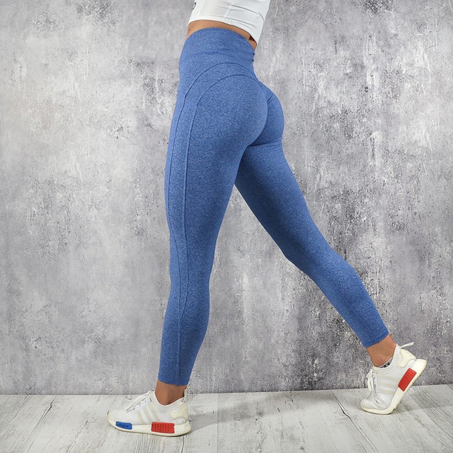 Solid Color Elastic Sports Leggings for Women
