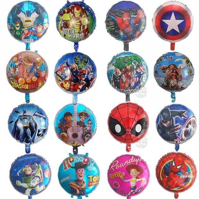 10 pçs/lote foil balões de hélio ar de Super-heróis Vingadores liga da justiça Batman Spiderman Crianças fontes do partido de aniversário dos miúdos brinquedos