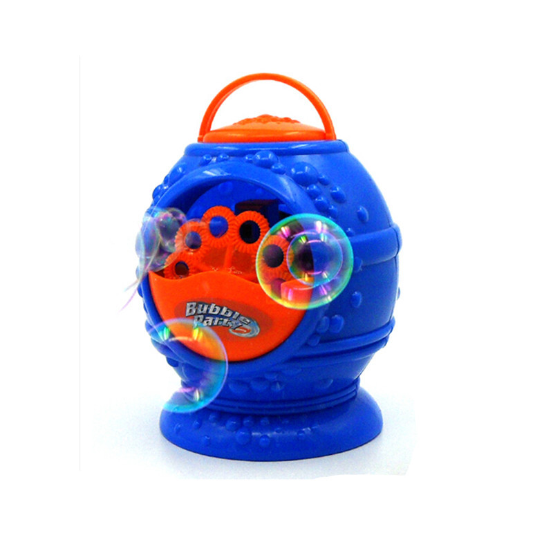 2017 Hot Sale Electronic automatic bubble machine, blue plastic bubble blowing soap bubbles baby toys bubbles for kids