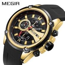MEGIR הכרונוגרף גברים ספורט שעון זכר סיליקון אוטומטי תאריך קוורץ שעונים Mens יוקרה מותג עמיד למים Relogio Masculino