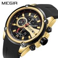Megir cronógrafo masculino relógio do esporte masculino silicone data automática relógios de quartzo dos homens marca luxo à prova dwaterproof água relogio masculino