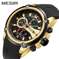 Reloj deportivo con cronógrafo de MEGIR para hombre, reloj de cuarzo con fecha automática de silicona para hombre, reloj impermeable de marca de lujo para hombre