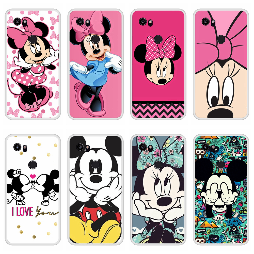 Case For Google Pixel 2 XL Soft Silicone TPU Mickey Minnie Pattern Painted Phone Cover For Google Pixel 2 XL Case Cover