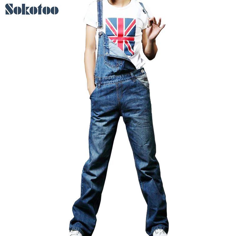 Sokotoo Men's plus large size denim overalls Casual loose jeans jumpsuits for man Bib pants Free shipping 2014 new fashion reminisced men vintage trousers casual jeans wash capris pants loose plus size overalls zipper denim jumpsuit