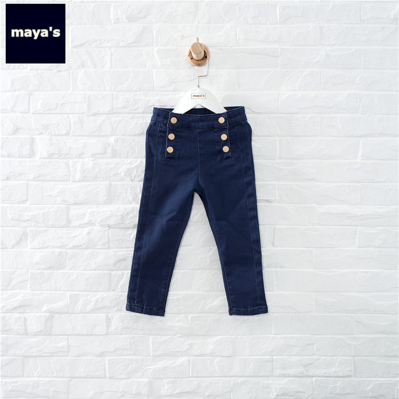 Mayas Fashion Skinny Button Girls Spring Jeans Solid Color Straight Children Pencil Pants Kids New Basic Denim Leggings 97103