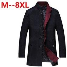 Большие размеры 10XL 8XL 6XL 5XL 4XL зимние кофты для Для мужчин и парки воротник-стойка Для Мужчин's ветровка утолщенной шерстяное пальто