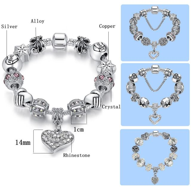 ELESHE Luxury Brand Women Bracelet 925 Unique Silver Crystal Charm Bracelet for Women DIY Beads Bracelets & Bangles Jewelry Gift 3