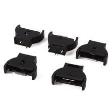 Bộ 5 Nhựa CR2032 2032 3V Tế Bào Đồng Xu Pin Ổ Cắm Đựng Nửa Tròn Lithium Nút Hộp giá Đỡ Lưng CR Pin