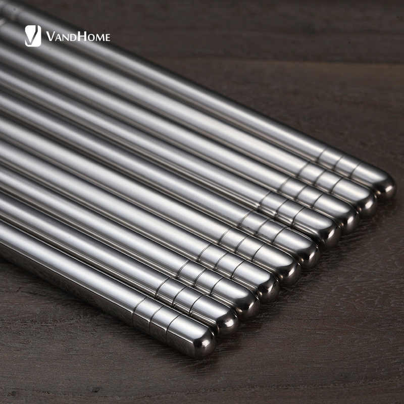 VandHome 5 Pairs/Set Chinese Metal Chopsticks Non-Slip Stainless Steel Chop Sticks Set Reusable Food Sticks Kitchen Sushi Sticks