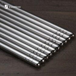 VandHome 5 Pairs/Set Chinese Metal Chopsticks Non-slip Stainless Steel Chop Sticks Set Reusable Food Sticks Sushi Hashi Baguette