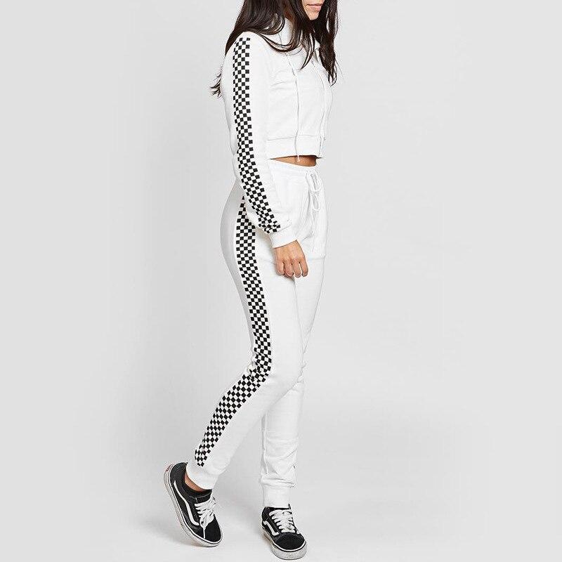 SUDB 2 Piece Set Women Tracksuit Sportswear Casual White Sweat Pants Hooded Cropped Sweatshirt Hoodie 2 Piece Set Tracksuit Set