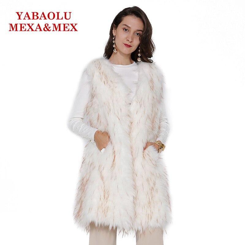 Fourrure Blanc Gilet Manteau Pardessus Dames De Hiver Chien Viverrin Faux Femmes Veste Automne Mode wOAxHwq