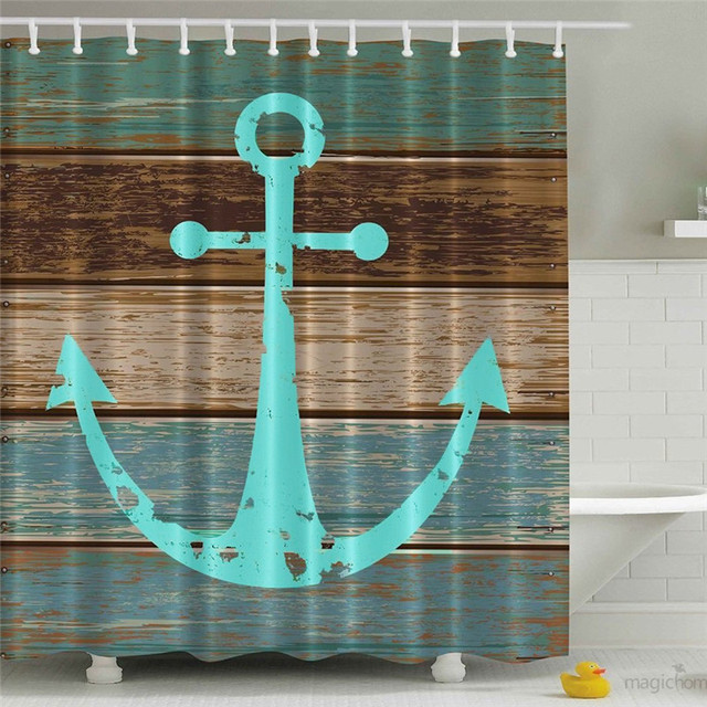 Wooden Anchor Bathroom Curtains Modern Shower Curtains White 3D Print Decor  Waterproof Polyester Fabric 180*