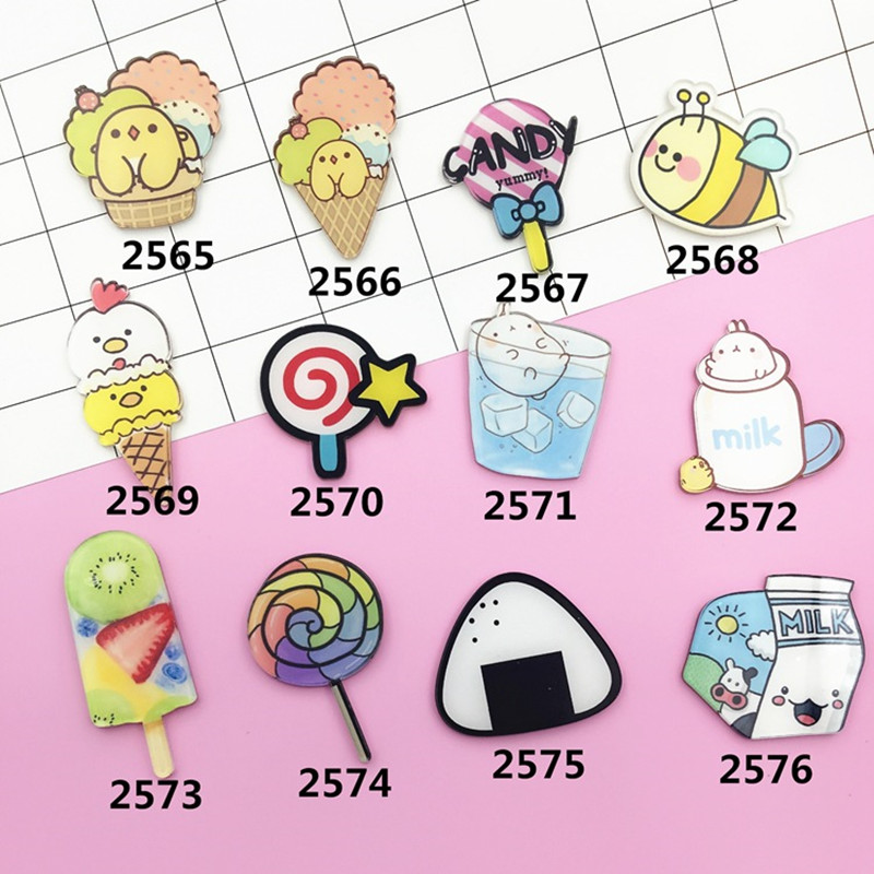 Acrylic Badge Lollipop Milk Ice Cream Bee Brooch Pin Up Collar Tips Anime Badges XZ151