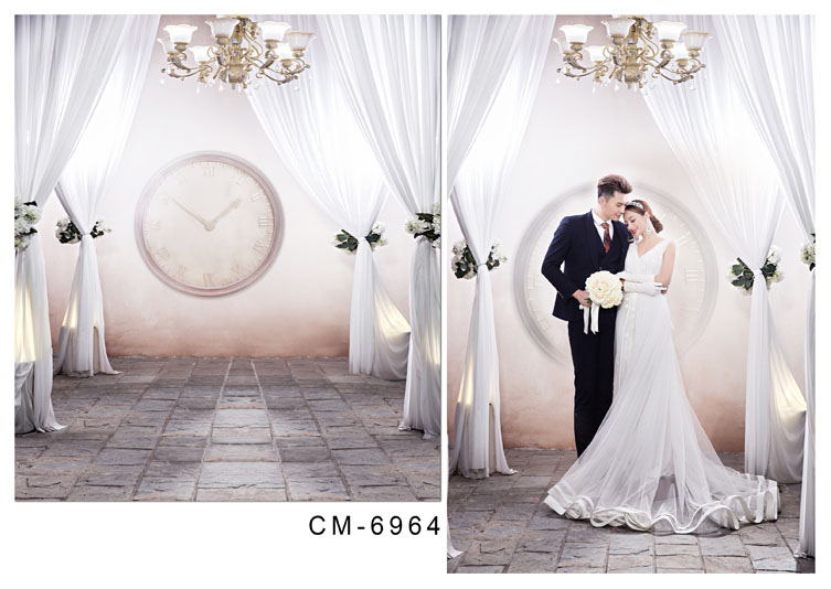 Customize vinyl cloth print white curtains room wallpaper photo studio backgrounds for wedding photography backdrops CM-6964