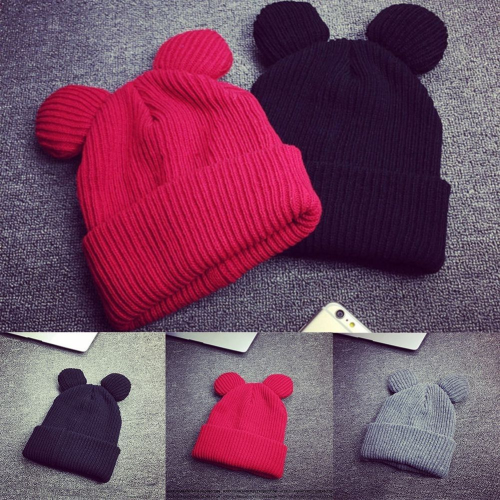 1 PC New Women Winter Thick Knitted Wool Hat With Two Cat Ears Womens Beanie Warm & Soft Cap New