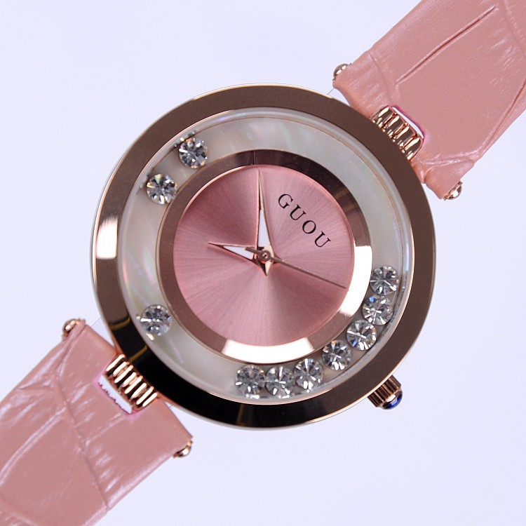 High Quality Hot Sales Women Rolling Drill Watches Luxury Quicksand Gift Watch Genuine Leather Rhinestone Wristwatches GUOU 8039