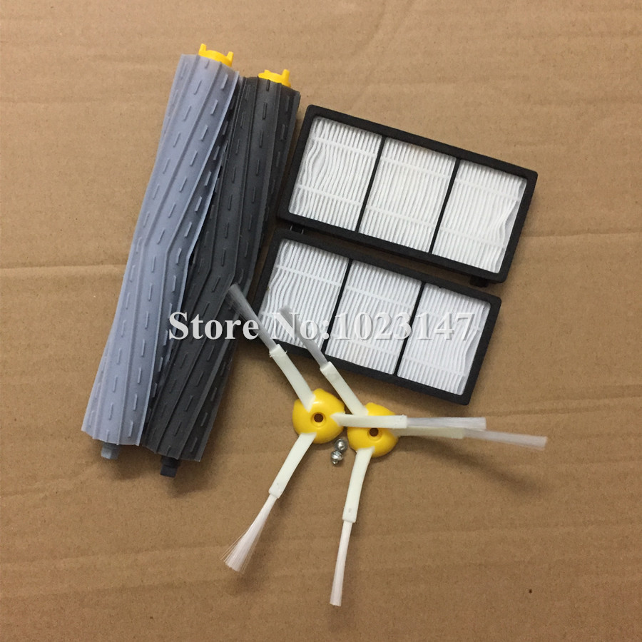2x Extractor Brush 2x Robotic HEPA Filters + 2x side brushes 2x srew for irobot roomba 960 980 800 870 880 900 Series Cleaner filtron k1180 2x