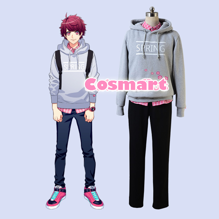 Game A3!Team Spring Figure Sakuma Sakuya Daily Hoodie Pullover + Pink Shirt Cosplay Costume For Adult New Free Shipping