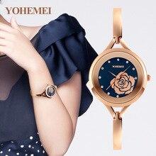 Superior Original YOHEM Pulsera Relojes para Dama Vestido de La Manera Estilo de la Cadena de Joyería de Oro Con Encanto para mujer de Cuarzo relojes de 4 colores Regalos