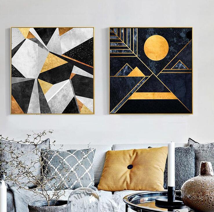 Neue gold gerahmte moderne simple nordic abstrakte design goldene ...