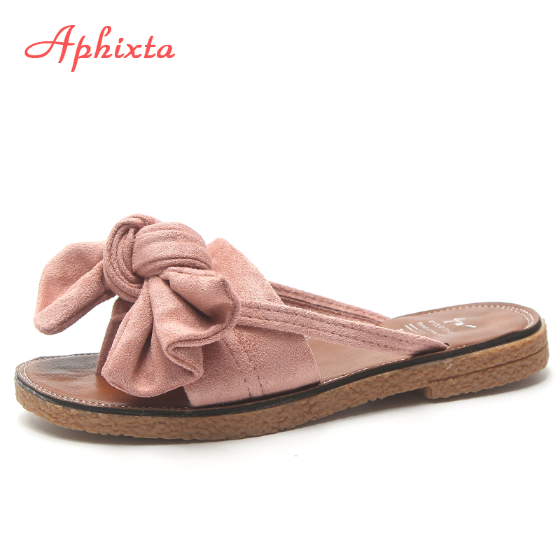 2af81ddfa0388 Aphixta New Shoes Women Bow-toe Slippers Sunflower Butterfly Summer Slides  Home Flip Flops Flat Heels Sandals Woman Beach Shoes