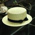 2016 verano Plana sombrero de paja sombreros de sun para las mujeres chapeau feminino estilo panamá cappelli Lateral con arco cubo de Playa chica cap salacot