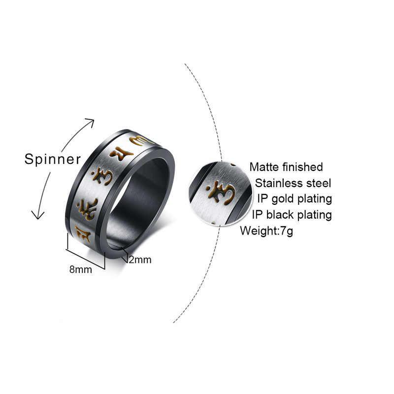 Vnox 8 мм вращающееся шесть слов мантра кольцо для мужчин Спиннер из нержавеющей стали стильный мужской свадебный браслет Повседневная джентльменская бижутерия