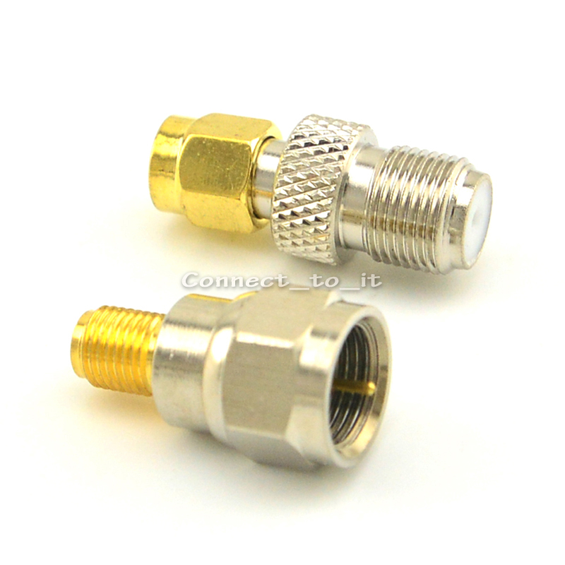 SMA Female Jack Goldplated to F Male Plug Straight Connector Adapter + SMA Male Goldplated to F Female RF Connector Adapters areyourshop hot sale 10pcs adapter n jack female to sma male plug rf connector straight ptfe nickel plating gold plating