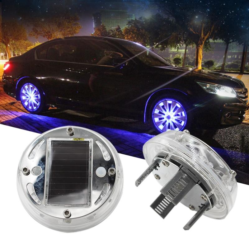 KAMMURI 4 PCs/lot Auto Colorful RGB Car Solar Power Wheel Energy Light Lamp Car Wheel Decoration Led light