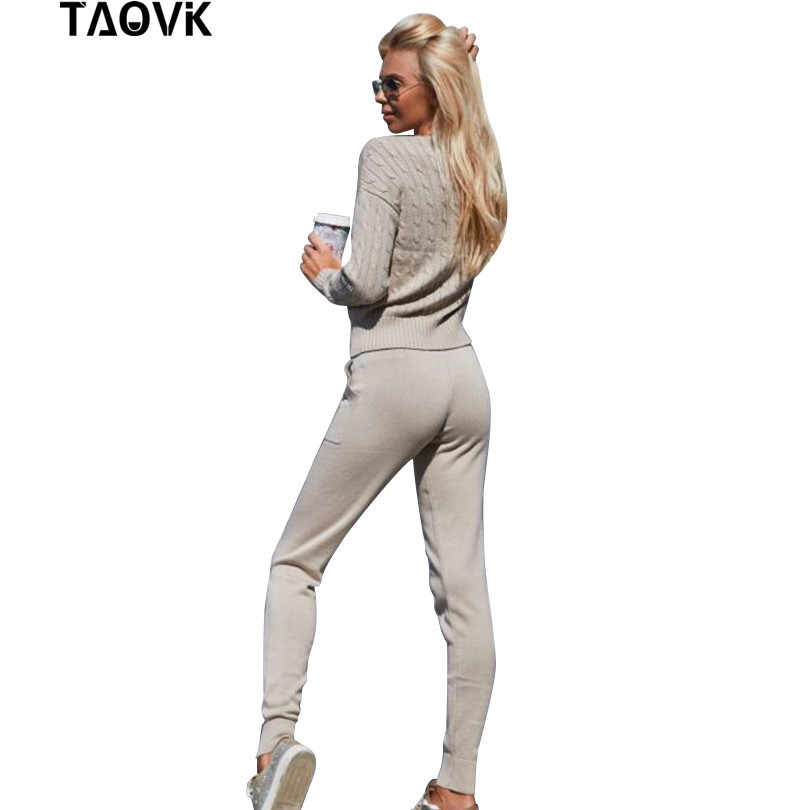 TAOVK Women Sweater Suit and Sets Casual Spring Autumn 2PCS Tracksuit Female Knitted Trousers+Jumper Tops Costume Clothing Set