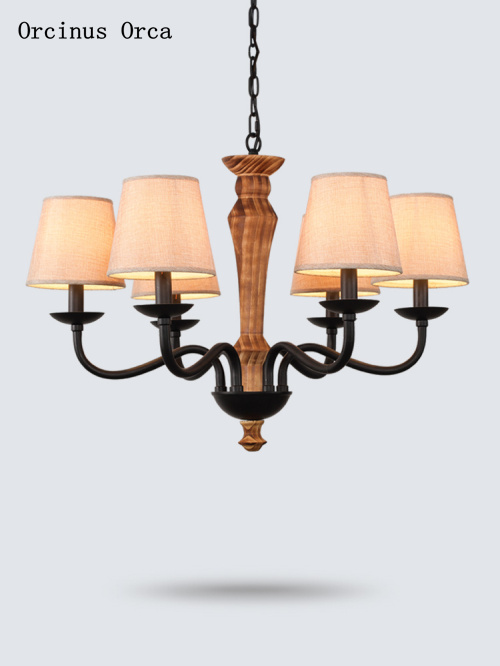 American Retro Solid Wood Chandelier Living Room Dining Room Bedroom Mediterranean Creative Personality LED Classic Chandelier